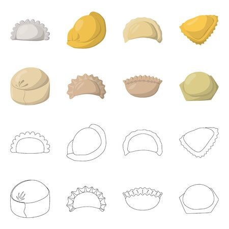Isolated object of products and cooking icon. Set of products and appetizer stock vector illustration.
