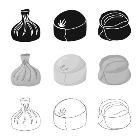 Vector illustration of products and cooking icon. Collection of products and appetizer stock symbol for web.