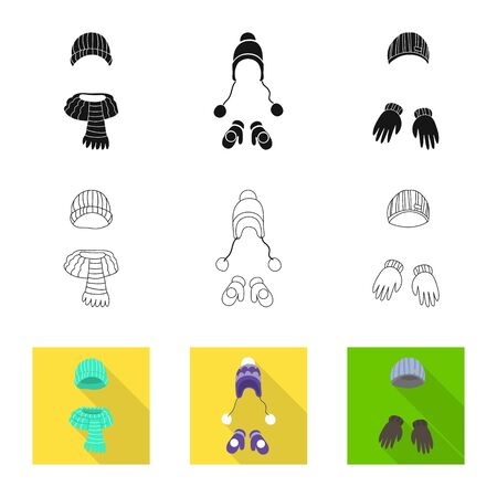 Isolated object of clothes and texture icon. Set of clothes and weather stock symbol for web. Illustration