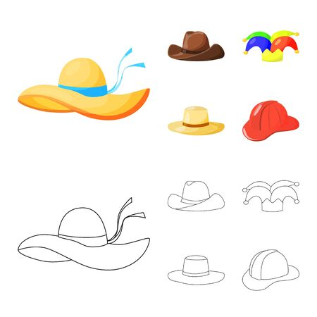 Isolated object of clothing and cap icon. Collection of clothing and beret vector icon for stock.