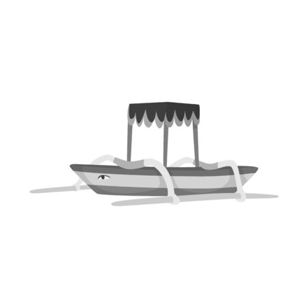 Vector design of boat and sail symbol. Collection of boat and ocean stock vector illustration. Ilustração