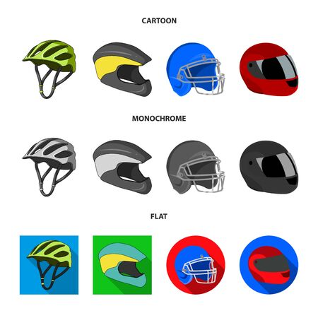Isolated object of helmet and sport icon. Set of helmet and moto stock symbol for web. Çizim