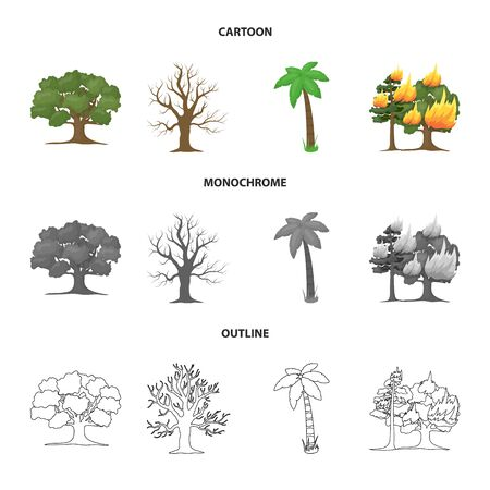 Vector illustration of tree and forest symbol. Collection of tree and green stock symbol for web.