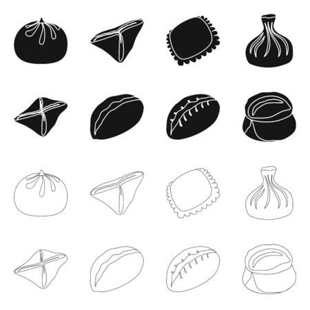 Vector illustration of products and cooking sign. Collection of products and appetizer vector icon for stock. Ilustrace