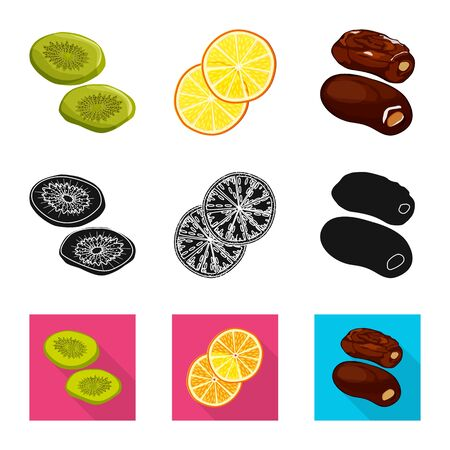 Vector illustration of food and raw . Set of food and nature stock symbol for web. Vetores