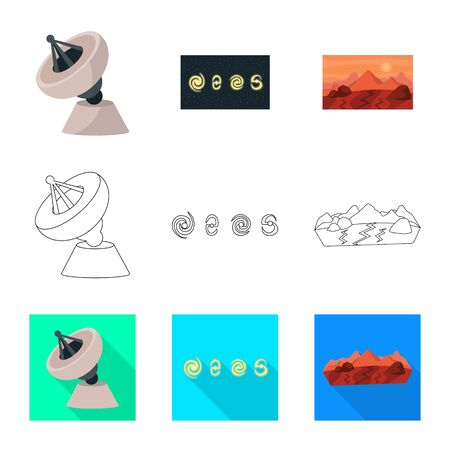 Isolated object of astronomy and technology sign. Set of astronomy and sky vector icon for stock.