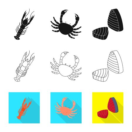Isolated object of fresh and restaurant sign. Collection of fresh and marine vector icon for stock.