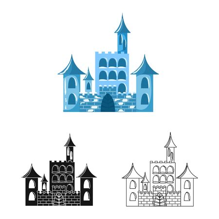 Vector design of castle and ice sign. Collection of castle and sculpture stock vector illustration.