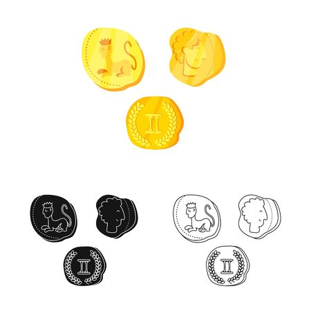 Vector design of coins and antique symbol. Set of coins and old stock symbol for web.