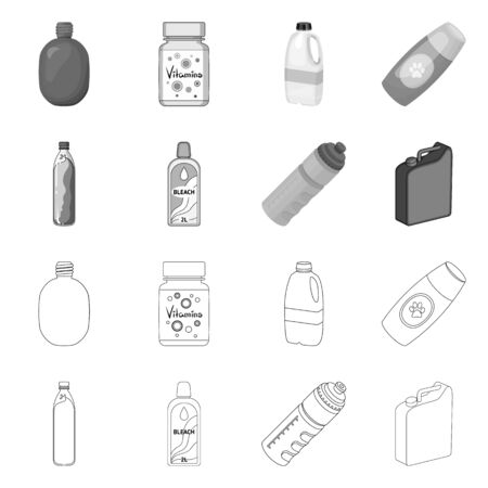 Isolated object of plastic and container . Collection of plastic and packaging stock symbol for web.