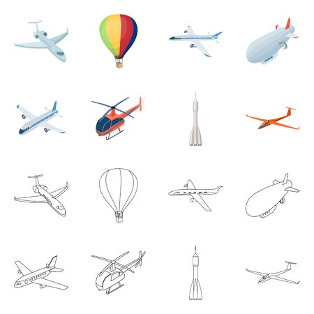 Isolated object of transport and object . Collection of transport and gliding stock symbol for web. Ilustrace