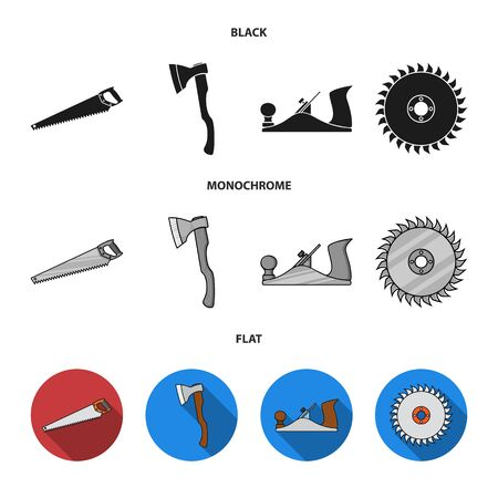Vector illustration of tool and construction symbol. Set of tool and carpentry stock vector illustration.