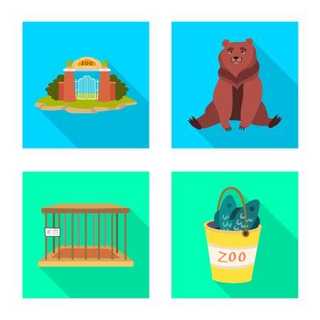 Vector design of safari and animal icon. Collection of safari and fun vector icon for stock.
