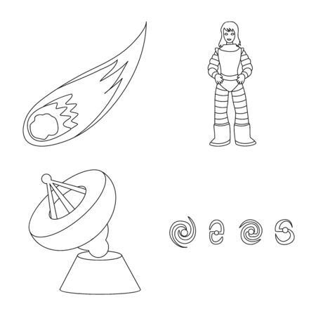 Isolated object of space and galaxy sign. Set of space and travels vector icon for stock. Illustration