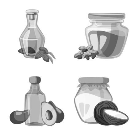 Isolated object of nutrition and organics sign. Collection of nutrition and glass vector icon for stock.