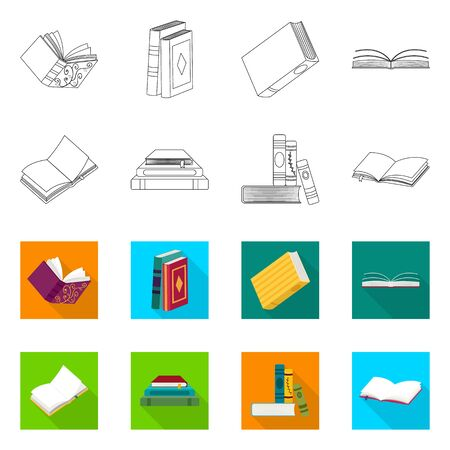 Vector illustration of training and cover icon. Set of training and bookstore vector icon for stock. 일러스트
