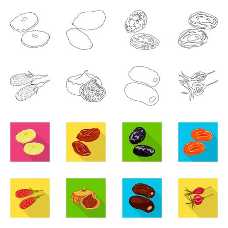 Vector design of food and raw logo. Collection of food and nature vector icon for stock.