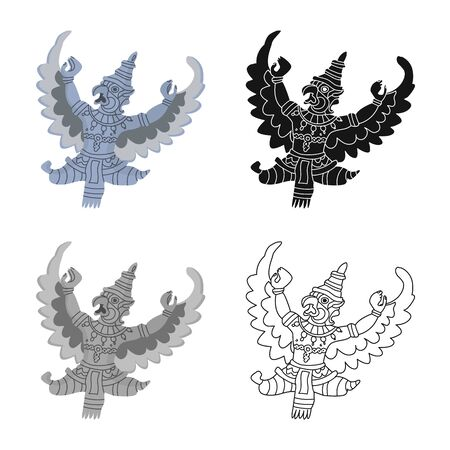 Vector illustration of garuda and bird icon. Set of garuda and jatayu vector icon for stock.
