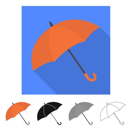Vector design of parasol and water symbol. Set of parasol and water stock symbol for web.