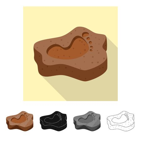 Vector design of rock and imprint icon. Collection of rock and old vector icon for stock.