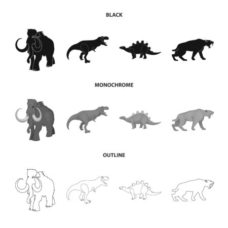 Vector illustration of animal and character sign. Set of animal and ancient vector icon for stock. Ilustração