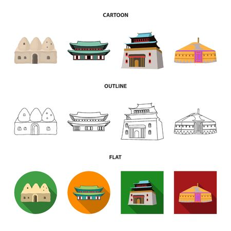 Vector design of town and chinatown icon. Collection of town and asian stock vector illustration.