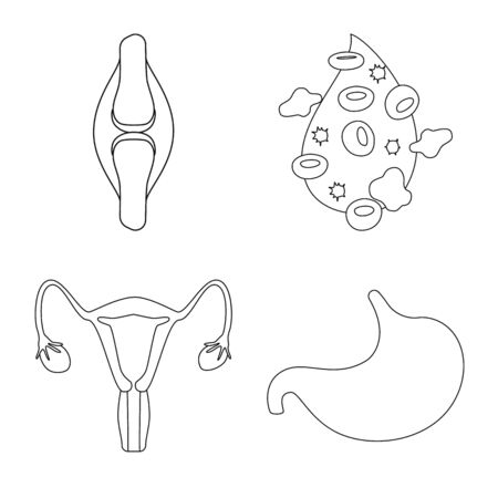 Vector design of anatomy and organ sign. Collection of anatomy and medical stock symbol for web.