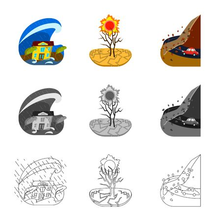 Isolated object of weather and distress sign. Set of weather and crash stock symbol for web.