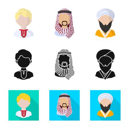 Vector design of imitator and resident icon. Set of imitator and culture vector icon for stock.