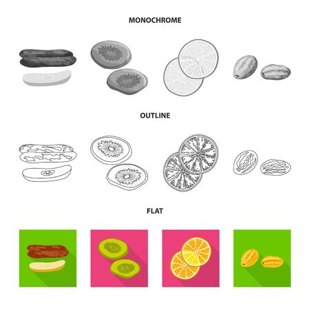 Vector illustration of food and raw icon. Set of food and nature stock symbol for web.