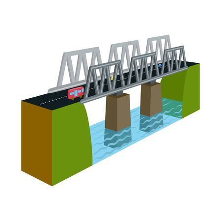 Vector illustration of bridge and modern symbol. Collection of bridge and railroad stock symbol for web.