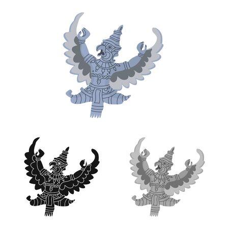 Isolated object of garuda and bird sign. Set of garuda and jatayu stock vector illustration.