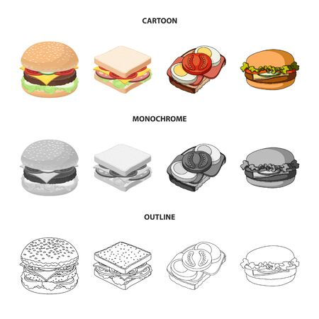 Vector design of sandwich and wrap symbol. Collection of sandwich and lunch stock symbol for web. Archivio Fotografico - 126496768