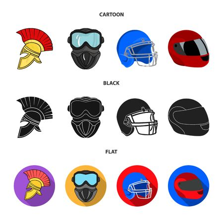Vector illustration of helmet and sport sign. Collection of helmet and moto stock vector illustration.