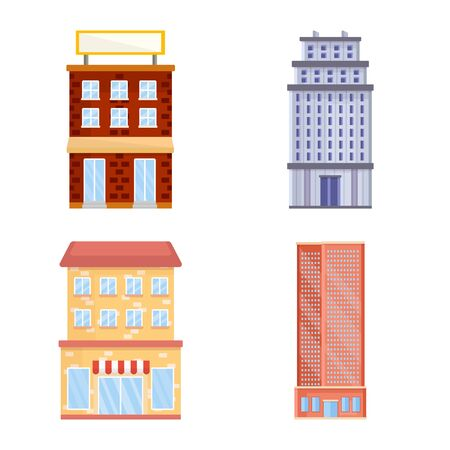 Isolated object of facade and building icon. Set of facade and exterior vector icon for stock.
