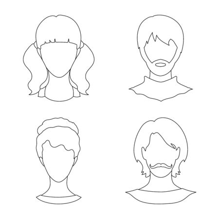 Isolated object of professional and photo icon. Set of professional and profile vector icon for stock.  イラスト・ベクター素材