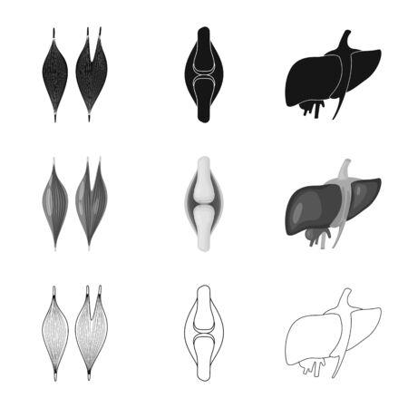 Vector illustration of biology and scientific symbol. Set of biology and laboratory vector icon for stock. Ilustração