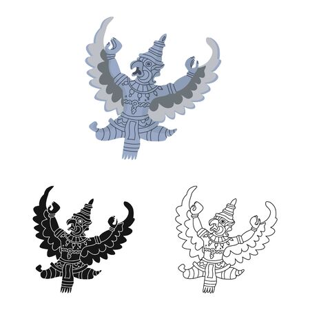 Isolated object of garuda and bird . Collection of garuda and jatayu vector icon for stock. Ilustração