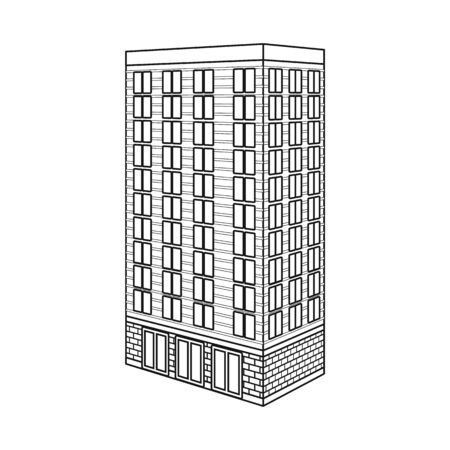 Vector illustration of office and skyscraper symbol. Collection of office and company stock vector illustration.