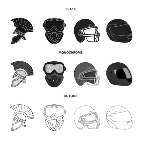 Isolated object of helmet and sport icon. Collection of helmet and moto stock vector illustration.