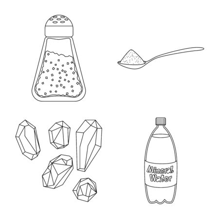 Vector design of sodium and mineral icon. Set of sodium and kitchen stock vector illustration.