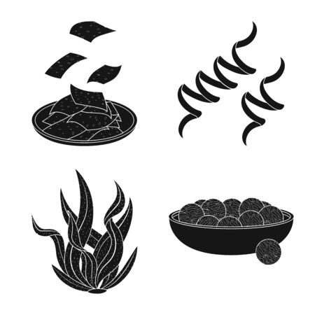 Vector design of grass and natural symbol. Set of grass and seaweed vector icon for stock.
