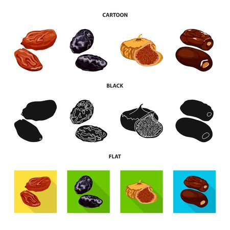 Vector illustration of food and raw . Set of food and nature stock symbol for web. Banco de Imagens - 126627721