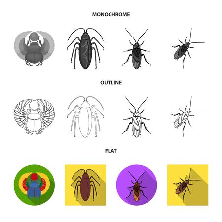 Vector illustration of insect and beetle sign. Collection of insect and halloween stock vector illustration. Ilustrace