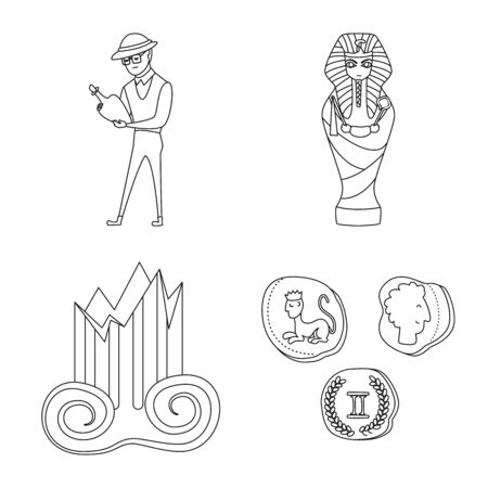 Vector illustration of story and research  . Set of story and discovery stock vector illustration.