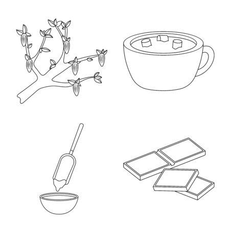 Vector illustration of cocoa and beans icon. Set of cocoa and sweetness stock vector illustration. Foto de archivo - 126737008
