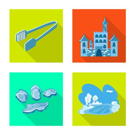 Vector illustration of texture and frozen sign. Set of texture and transparent stock symbol for web.