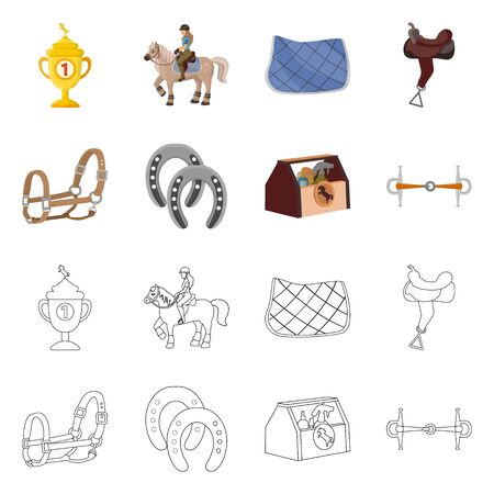 Vector design of equipment and riding symbol. Set of equipment and competition stock vector illustration.  イラスト・ベクター素材