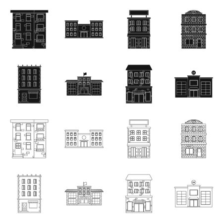 Vector illustration of municipal and center . Set of municipal and estate stock vector illustration.