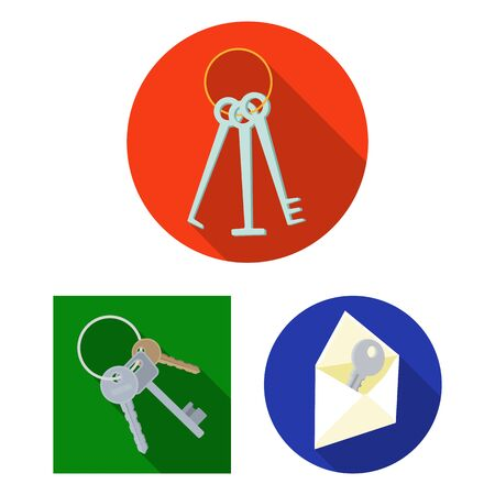 Isolated object of key and protection symbol. Collection of key and security stock bitmap illustration. Stock Photo